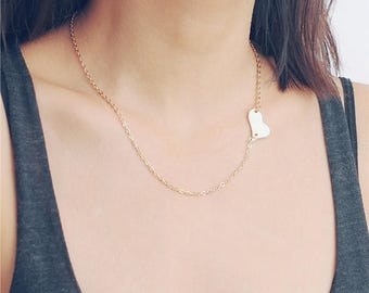 ON SALE Irregular heart sideways necklace - gold heart necklace - heart chocker necklace
