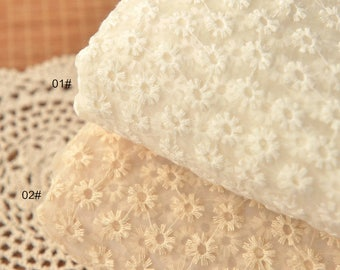 White Beige Lace Fabric, Embroidered Fabric, Hollowed Organza Lace For Bridal Dress Curtain- 1/2 yard Lace W218