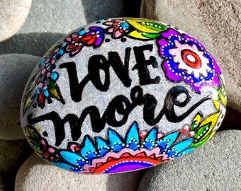 love more /painted rocks/ painted stones/ word stones / words on rocks / paperweights/ art for altars / boho art / hippie art / desk art