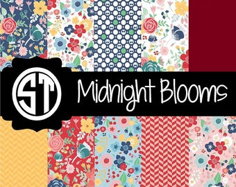 Midnight Blooms Floral Patterns Vinyl (Indoor, Outdoor,  Glitter vinyl , HTV iron on, Glitter HTV) Lamination available Mask not included