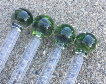 Tall Glass Marble Top UV Reactive Swizzle Set by OceanBeachGlass