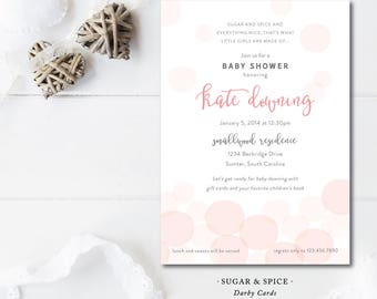 Sugar and Spice Baby Shower Invitations