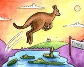 Kangaroo jumping over crocodiles surreal miniature art ATC Gift Art Trading Card Whimsical - Original ART ACEO Watercolor - Katie Hone