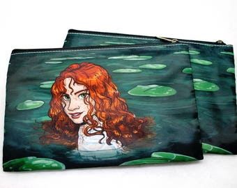 Redhead celtic water fairy pouch pencil case with lily pads and freckles