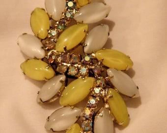 10% OFF Vintage 1950's Yellow n White Moonstone AB Rhinestone Brooch, Glass Cabochons, AB Rhinstones, Pin
