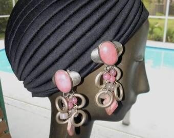 "10% OFF Silver 4"" Pink Opal Cabochon, Rose Quartz Beads, Rhodonite Triangle & Silver Rings, Dangle Earrings, Runway Earrings"