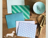 DOLLAR DEAL! Blue Lagoon. Note Cards (Set of 4) -- (Vintage-Style, Geometric, Teal, Blue, Striped, Thank You Card, Hello, Boho-Chic, Ocean)