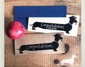 Long Doxie Grad. Note Card -- (Graduation Card, Personalized, Class of 2018, Congrats Grad, Graduate, Dachshund, Vintage-Style, Weiner Dog)