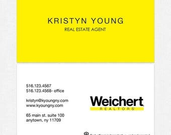 no photo Weichert real estate business cards - thick, color both sides - FREE UPS ground shipping