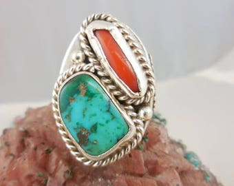 Native American Turquoise Coral Angela Lee Sterling Silver Ring