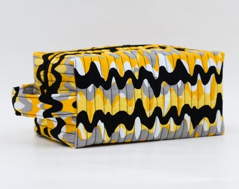 Yellow, Gray, White & Black Waves Quilted Cosmetic Bag with Handle, Boxy Pouch; Boxy Bag; Make-Up Bag; Travel Bag; First Aid Kit; Shave Bag