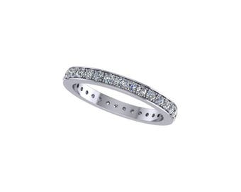 Diamond eternity wedding band 14k white gold, with 0.68 ct diamonds, style 332WD