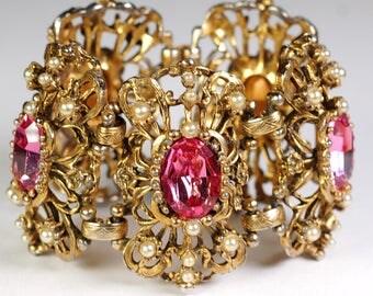 Selro Pink Rhinestone Glass Bracelet Huge