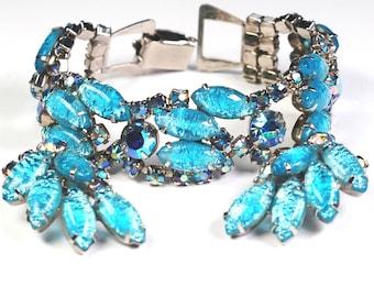 Juliana Rhinestone Foiled Art Glass Bracelet Earring Set