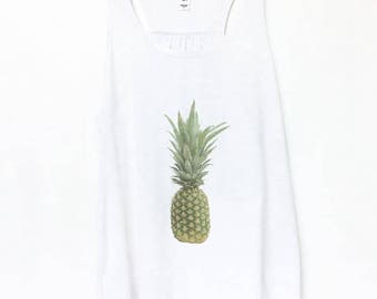 Pineapple Flowy Tank Top | Adult Tee Shirt Green and White | Photography | Pineapple Yoga Clothing