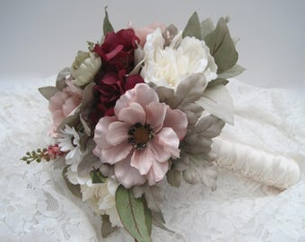 Mixed Bridal Bouquet Blush Pink Burgundy and Cream Anemone Hydrangea Peonies French Knotted with Pearl Accents on Handle....Ready to Ship