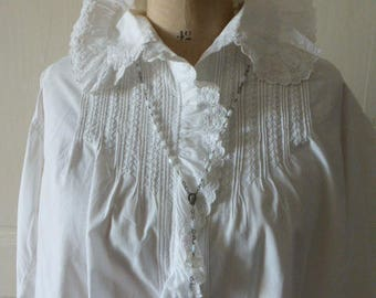 Beautiful, Late Victorian, Edwardian French Chemise,  Blouse ,Shirt,  Superb Hand Made French Circa 1900 ish