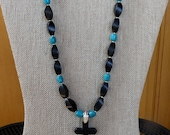 20 Inch Black Howlite Stone and Turquoise Cross Necklace with Earrings