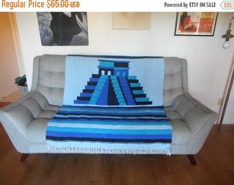 Large Striped Blue Vintage Mexican Woven Wool Blanket with Fringe Pyramid 65 x 80