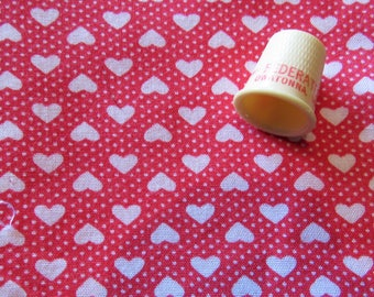 white hearts and dots on bright red cotton blend fabric -- 45 wide by 42 inches long