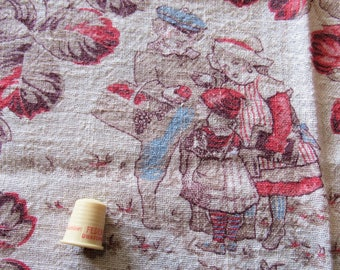 vintage HALF feed sack -- children and leaves novelty print fabric