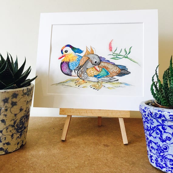 ORIGINAL DRAWING of Mandarin Ducks. They symbolize in Feng Shui Love, Loyality & Friendship. Comes with Certificate of Authenticity. Art.