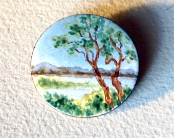 Vintage enamel on copper round pin enameled landscape brooch