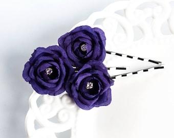 719_ Violet flower bobby pin, Purple wedding flower, Bridal small flower bobby pin, Wedding flower bobby pin, Bridal flower hair accessory.