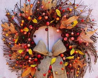 Fall Wreath-Fall Home Decor-Fall Front Door Wreath-Fall Door Wreath-Fall Door Decor-Fall Harvest-BURLAP BERRY LEAF Twig Door Wreath-Wreaths