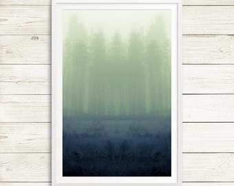 Outdoors gift, large forest art, forest art pictures, foggy forest art, forest print art, large green art, large tree art prints, vertical