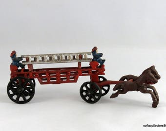 Cast Iron Horse Drawn Drawn Hook and Ladder Toy - Vintage 1930s Cast Iron Toy