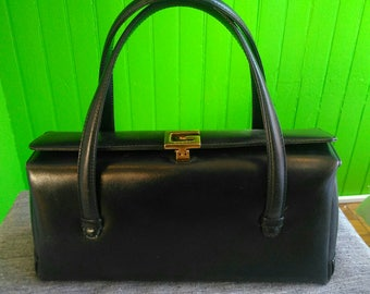 Rare Vintage 1960s Gucci Navy Box Hand Bag