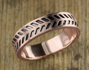 14k Rose Gold Mens Chevron Wedding Ring
