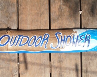 Hand painted Wood sign-  outdoor indoor shower sign- SURF sign 24 x 4 inches  wall decor, beach decor- office sign-rustic decor