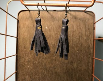 Leather Tassel Earrings - Chocolate Brown