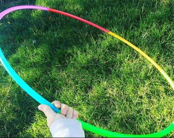 """6 Piece Custom RAINBOW section 5/8"""" or 3/4"""" Polypro Rainbow Hula Hoop -  Exercise and Fitness sectional hoop push button collapsible"""
