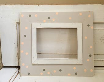 Handmade 8x10 Picture Frame Dots