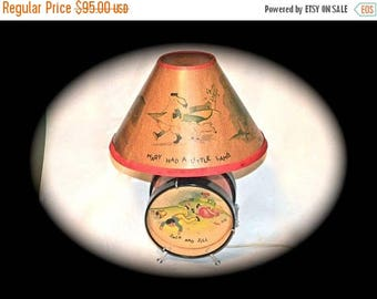 ON SALE Econolite Drum Nursery Rhyme Lamp 1949  Lamp Original Shade