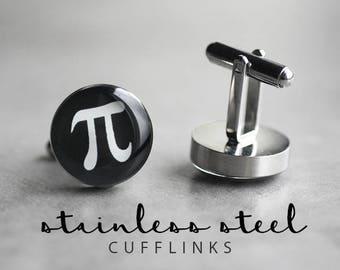 Pi Symbol Cufflinks, Surgical steel cufflinks, Math Cufflinks, Mens Cufflinks, gift for him, science cufflinks, wedding cufflinks
