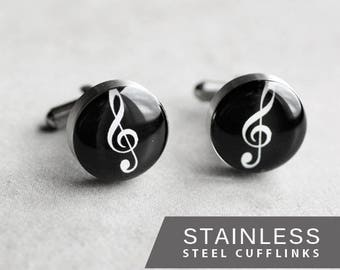Treble Clef cufflinks, Stainless steel cufflinks, Music cuff links, Musician cufflinks, Wedding cuff links gift for him black cufflinks