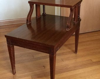 Vintage Mid Century SHIPS FREE Retro Atomic Two Tier End Table