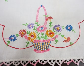 Hand Embroidered  Table Runner Baskets of Flowers