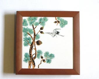 Bamboo Asian Pine Tree and Crane Ceramic Tile Trivet Hot Plate Footed Base Plant Stand
