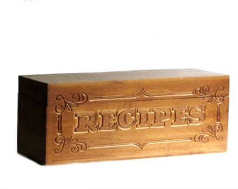 Carved Wood Recipe Box Double Wide Hinged Lid Storage Container Kitchen Index