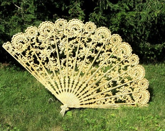 Burwood Spanish Fan Wall Hanging Simulated Wood Carved Filigree Lace Bronzed Cream Entry Focal Point Decor