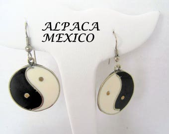 Ying Yang Alpaca Earrings, Signed Mexico Alpaca, Dangle Inlaid Enamel