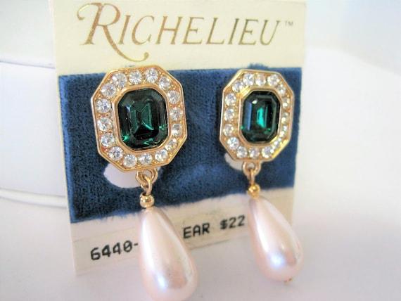 Green Pearl Earrings - Green Rhinestone Lobe - Pearl  Dangle - Wedding Drop Clip On