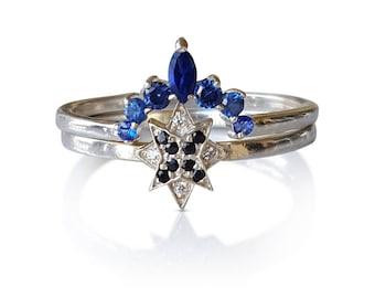 Wedding set, Bridal Set, Starburst Cluster ring, Pave Diamond Star Ring, Dainty Star Ring, Diamond Cluster Ring and Matching Crown Ring