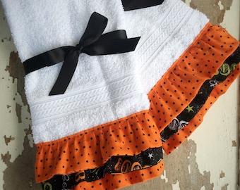 Halloween Decor Halloween Hand Towel Bathroom Decoration Ruffled Halloween Towel Ruffled Hand