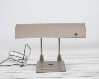 Vintage Mid Century Office Desk Lamp Light Bankers Lamp Works Great